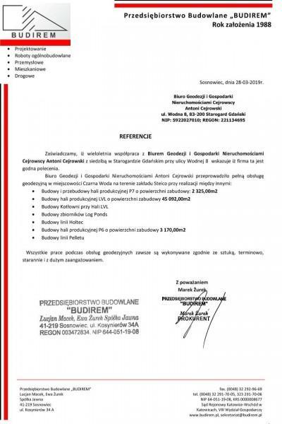 Referencje dogeodezyjnej obsługi budowy Hali przemysłowej