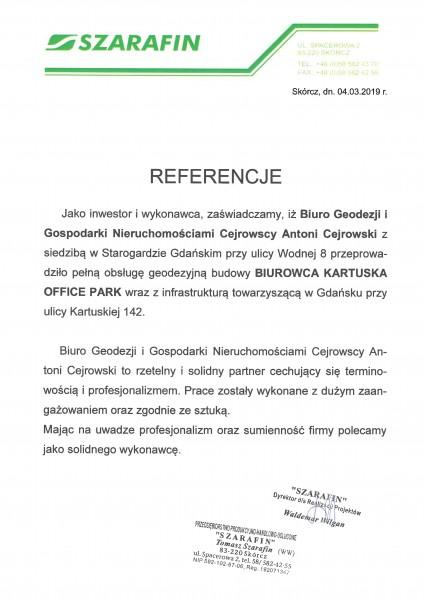 Referencje - geodezyjna obsługa budowy Biurowca Kartuska Office Park
