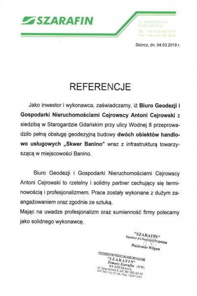 """Referencje - geodezyjna obsługa budowy centrum handlowego """"Skwer Banino"""""""
